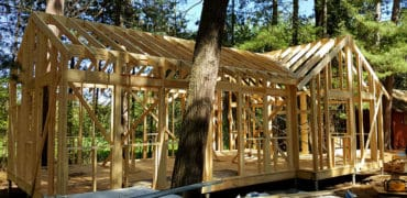 photo of framed cabin, red pine camp, golden lake