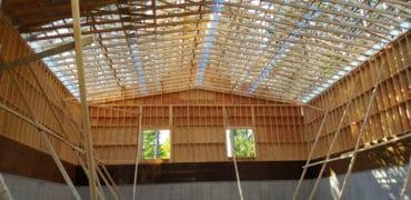 interior photo of municipal salt garage under construction, chalk river