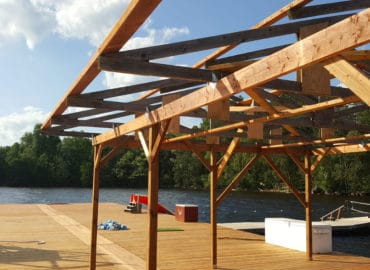 photo of new dock, red pine camp, golden lake