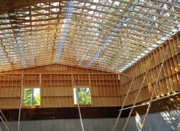 interior photo of framed municipal salt garage, chalk river